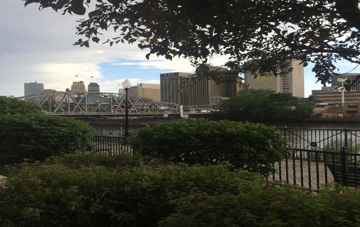 Scenic park overlooking cityscape